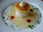 Crab Cake on Sushi Rice with Sauce